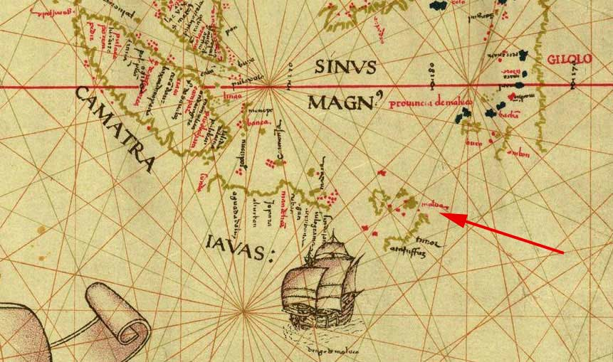 Description: Malua marked on a map published in 1529