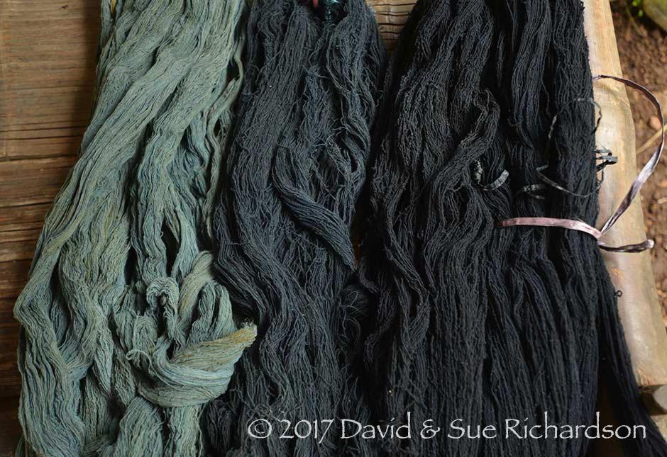Description: Yarns dyed in indigo up to 29 times