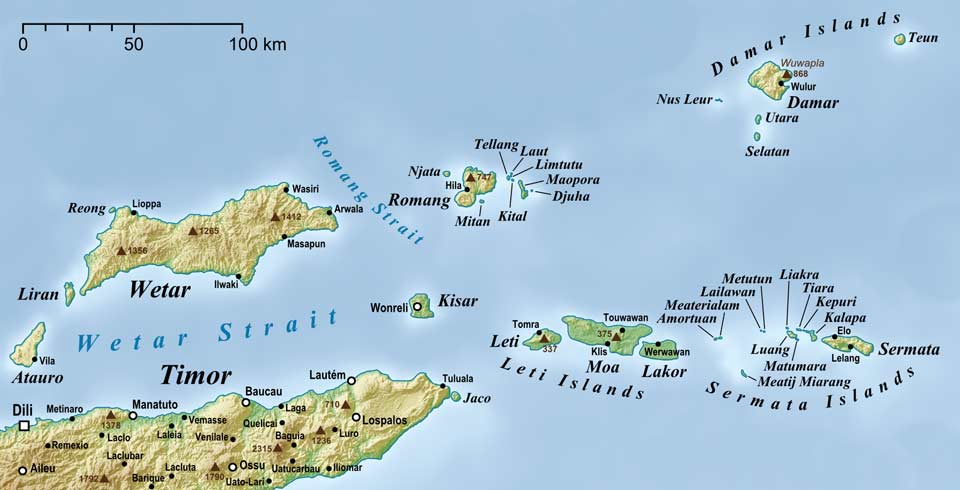 Description: Map showing the location of Kisar