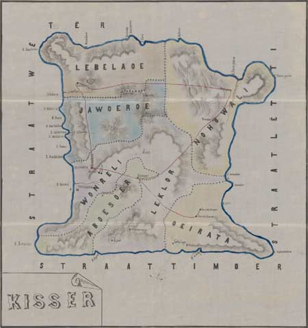 Description: Dutch map of Kisar Island, 1910