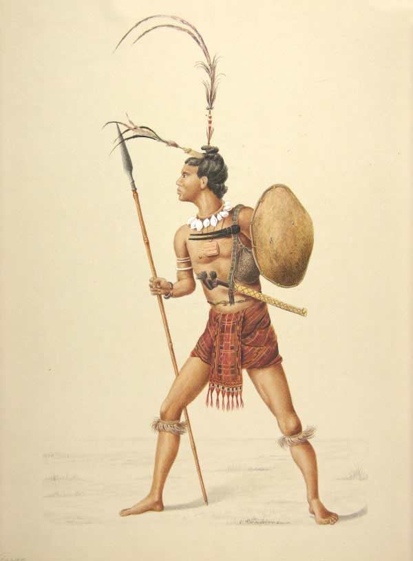 Description: A watercolour rendition of the same Kisar warrior by Ernst Krammerman
