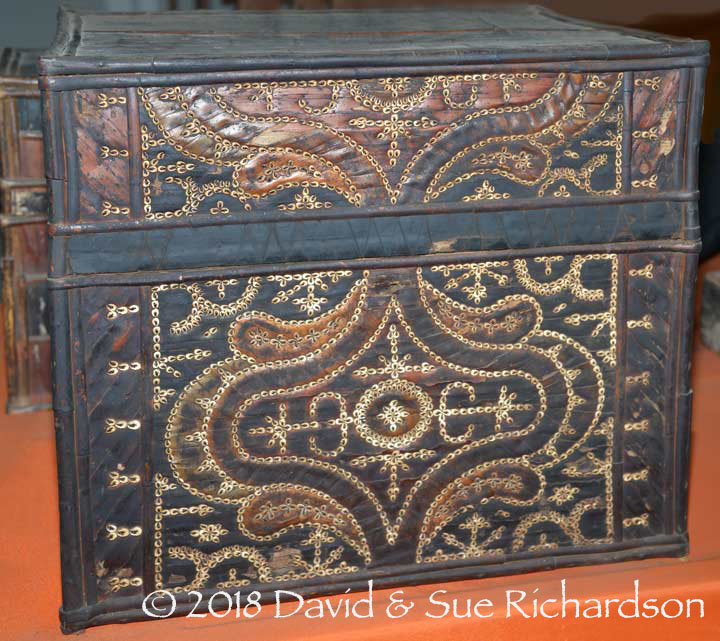 Description: Lontar palm leaf chest decorated with shells