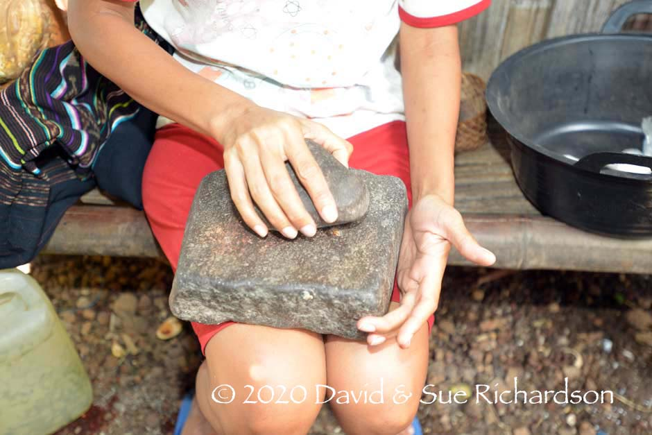 Description: Grinding stones for powdering tree bark at Bungamuda